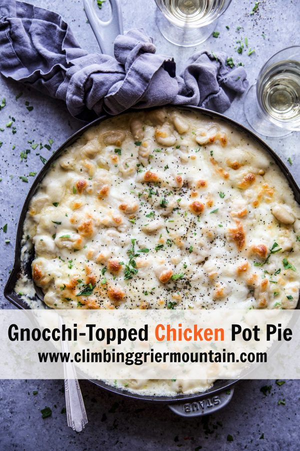 Gnocchi-Topped Chicken Pot Pie on a table