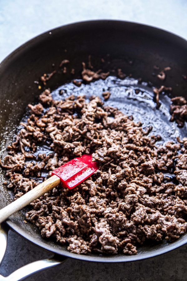 ground sesame beef in a skillet