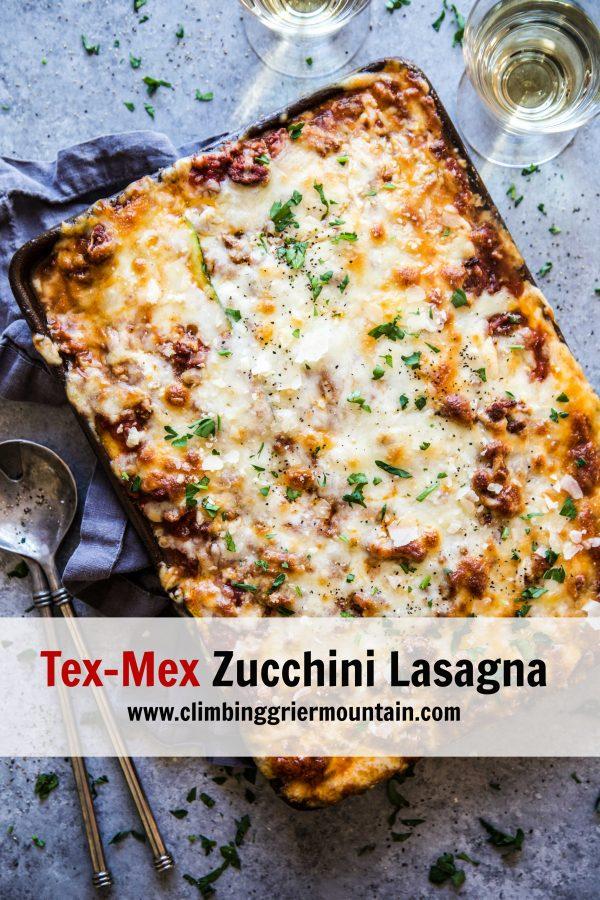 Tex-Mex Zucchini Lasagna on a table