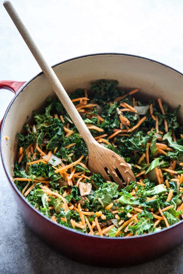 skillet full of mixed veggies