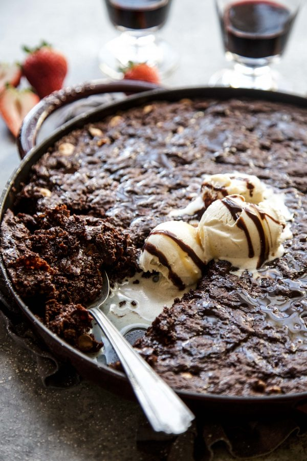 Triple Chocolate Skillet Brownie on a table