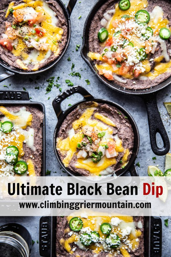 Ultimate Black Bean Dip in several skillets on a table