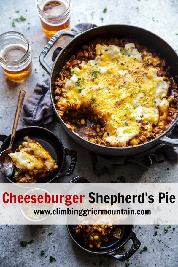 cheeseburger shepherd's pie in a skillet