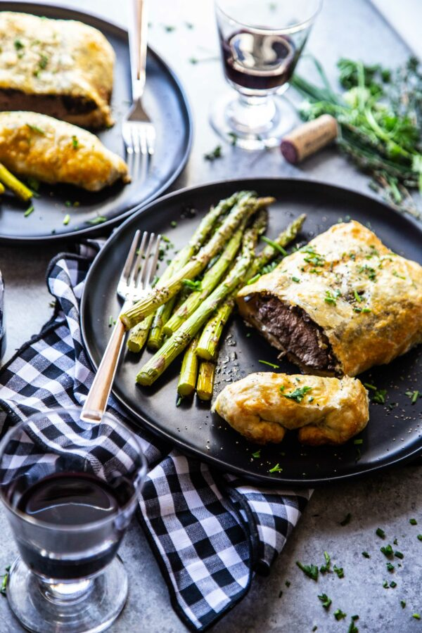 lamb wellington for two on a plate