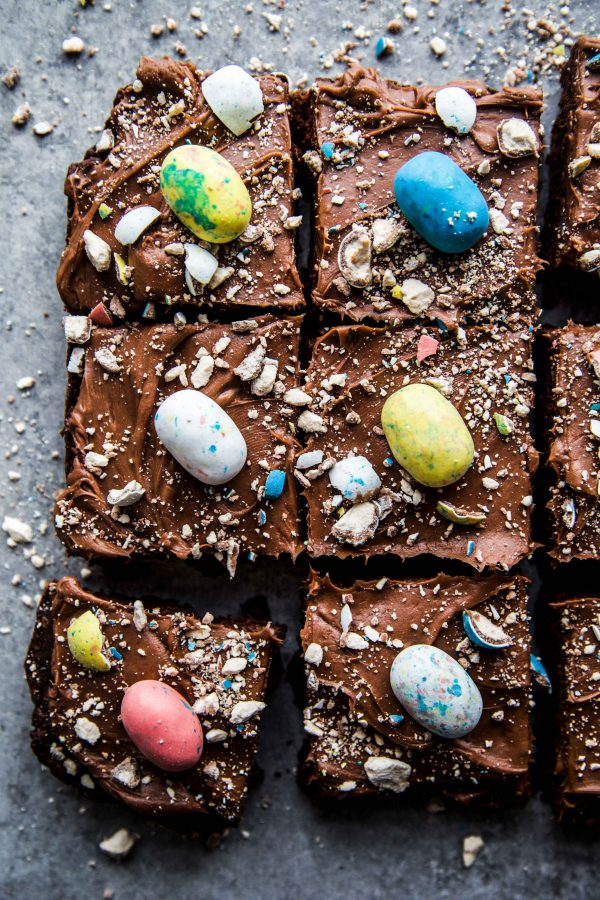 chocolate easter brownies with chocolate cream cheese frosting