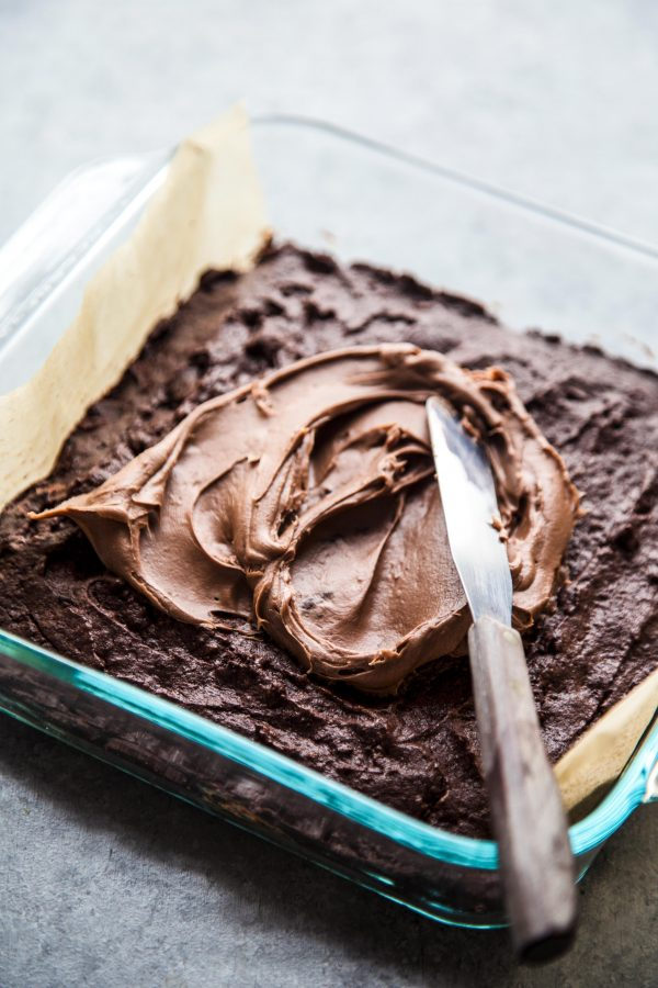 brownies being frosted