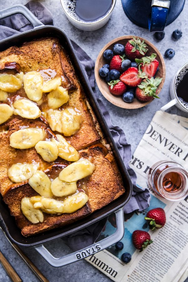 Nut Butter-Banana Stuffed French Toast Bake www.climbinggriermountain.com