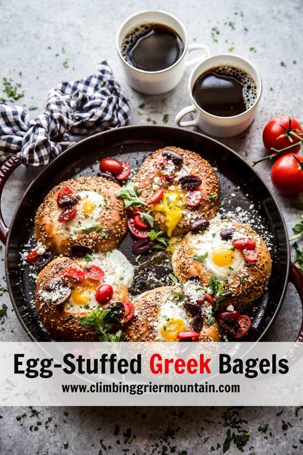 egg stuffed greek bagels www.climbinggriermountain.com