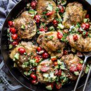 Mediterranean Chicken Thighs with Lemon-Cucumber Relish www.climbinggriermountain.com.