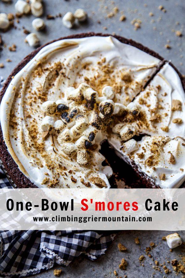 One-Bowl S'mores Cake www.climbinggriermountain.com.