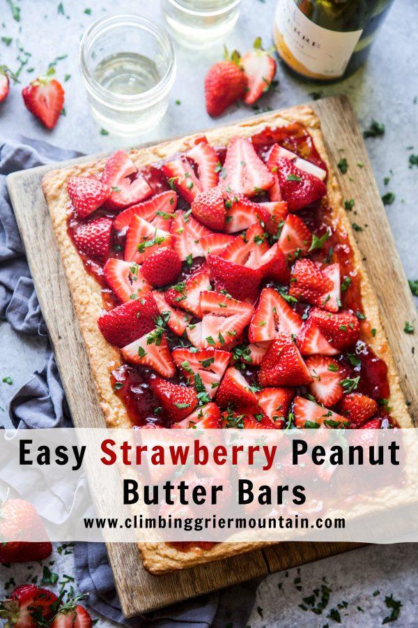 easy strawberry peanut butter bars www.climbinggriermountain.com.