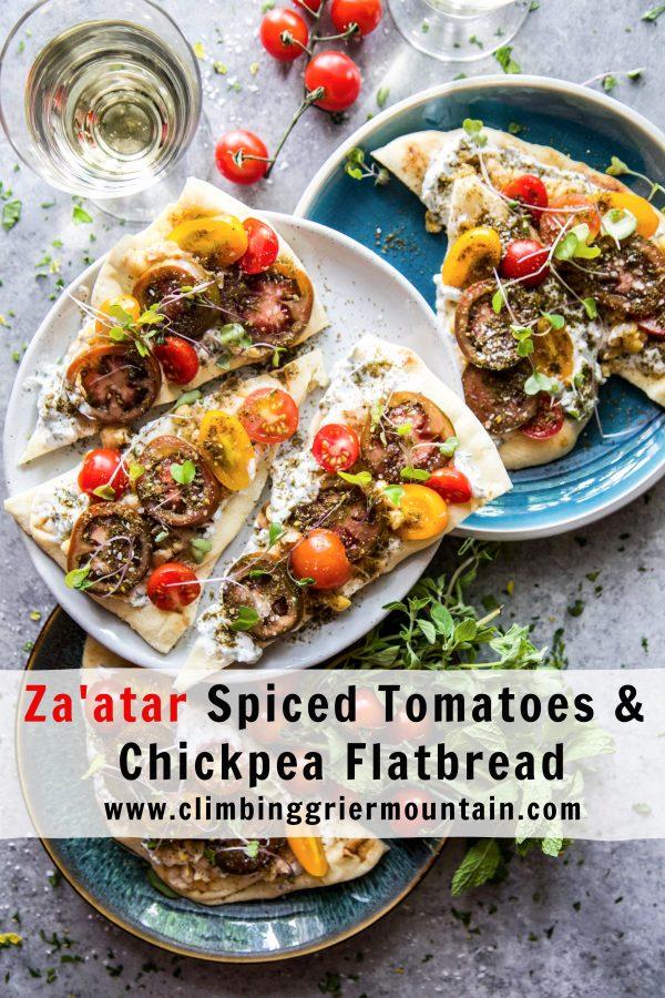 Za'atar Spiced Tomatoes & Chickpea Flatbread www.climbinggriermountain.com