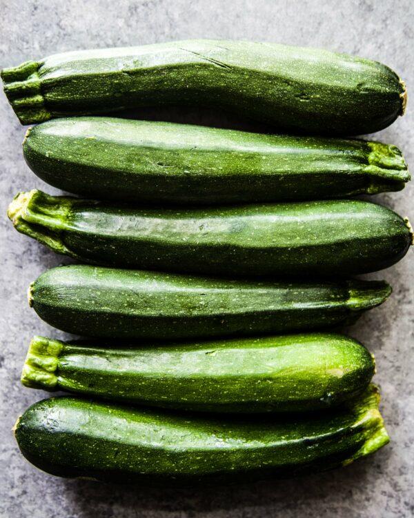 fresh zucchini on a table