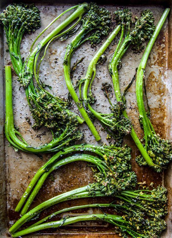 roasted broccolini on sheet pan