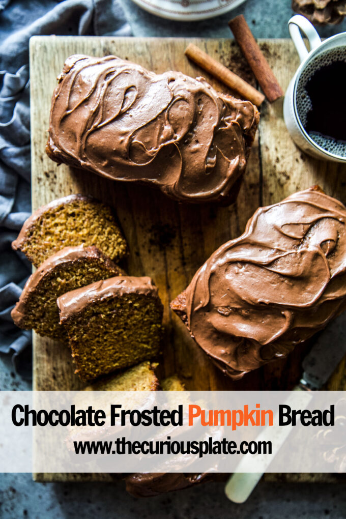 Chocolate Frosted Pumpkin Bread www.thecuriousplate.com