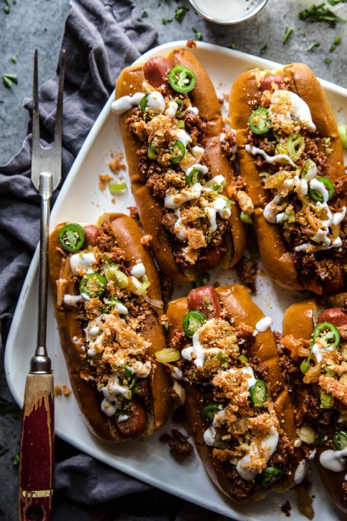 loaded chorizo & kimchi hot dogs