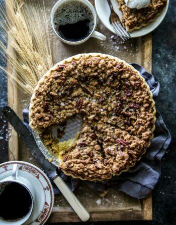 Salted Bourbon Pumpkin Pie with Pecan Stresuel