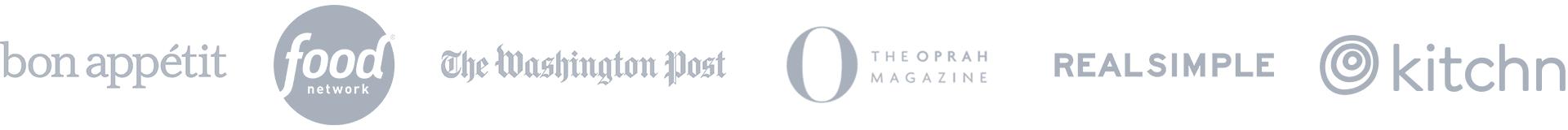 Logos: Bon Appetit, Food, Washington Post, Oprah Magazine, Real Simple, Kitchn