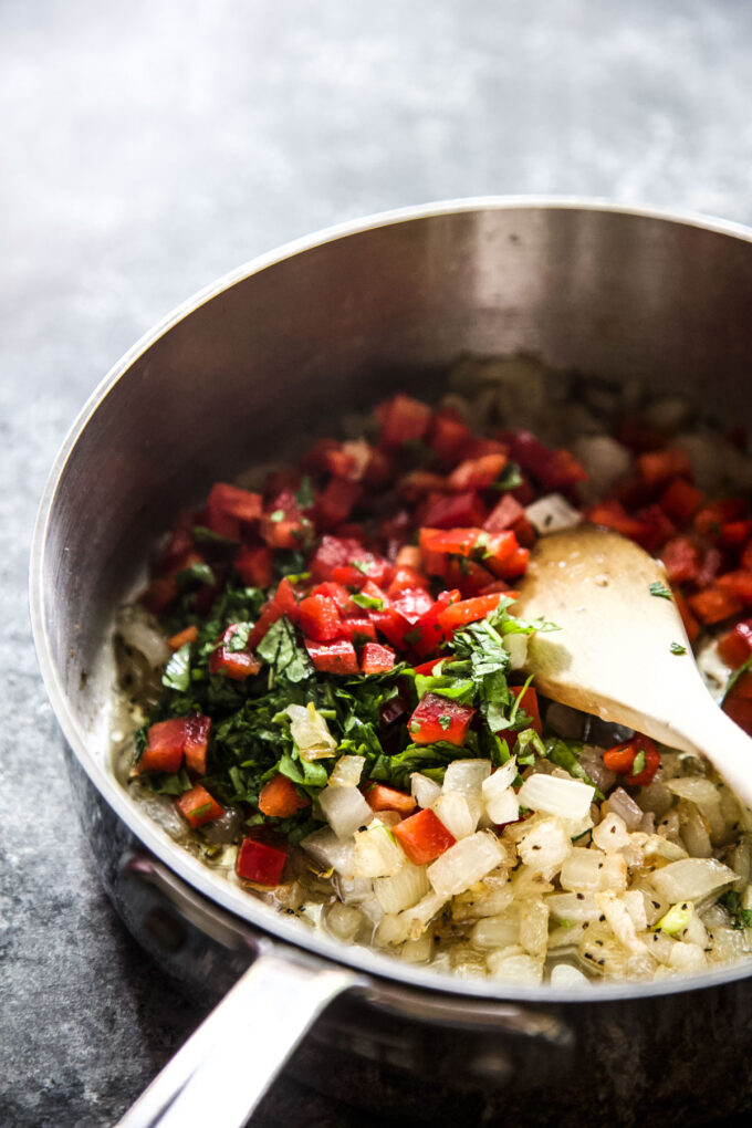 sweet pepper relish in a skillet