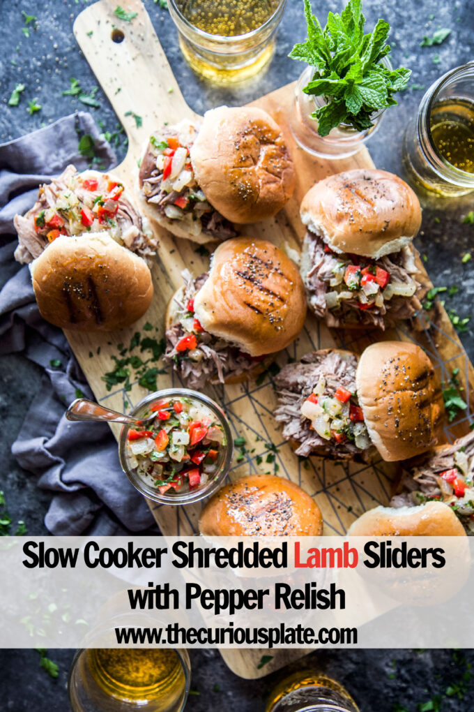 slow cooker shredded lamb sliders with pepper relish